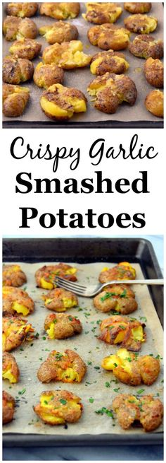 Crispy Garlic Smashed Potatoes - a simple 4 ingredient recipe for the best side dish! | uprootkitchen.com
