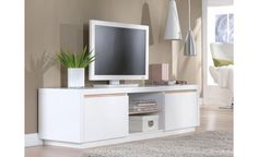 Solina - Lowboard with 2 Drawers and 2 open Fields, white high gloss with oak sonoma shadow lines