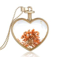 6.7$  Buy here - http://aixab.worlditems.win/all/product.php?id=J0562G-7 - Fashion New Jewelry Romantic Transparent Crystal Glass Heart Shape Floating Locket Dried Flower Plant Specimen Golden/Silver Pendant Chain Necklace for Women Girls