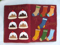 Quiet Book Page Ideas | just love the stocking page above each stocking is