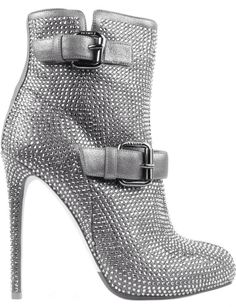 Le Silla silver booties with buckle