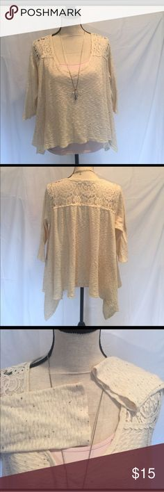EUC Anthropologie Trapeze Hem Cream V Neck Top EUC Anthropologie Trapeze Hem V Neck Top in Cream with specks of dark gray, textured weave that is lightweight, cream lace over shoulders and yoke, 3/4 sleeve, slits on sides for flowing movement, 84/11/5 cotton/rayon/spandex. Designer is Everleigh. This garment has never been in a dryer. No stains or tears. Can be worn alone or add a cami for a splash of color. Easy piece that dresses up or goes casual. Please ask questions if needed…