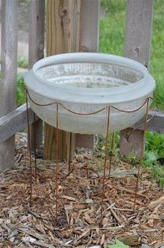 DIY~ use an old lampshade frame and a glass light fixture cover to make a bird bath