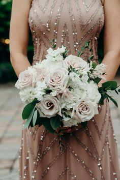 Neutral bridesmaid dress with sequins and simple floral bouquet with blush and white flowers. Willowdale Estate, a weddings and events venue north of Boston, Massachusetts. WillowdaleEstate.com | Erica Ferrone Photography