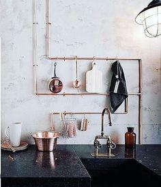 "695 gilla-markeringar, 11 kommentarer - S T I L T J E (@stiltje.se) på Instagram: ""Nice idea to make hangers from plumbing in the kitchen. Styling @cleoscheulderman picture…"""