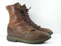 Justin mens 12 D lacer work cowboy boots by vintagecowboyboots