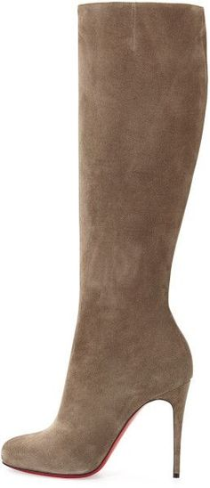 Christian Louboutin Fifi Botta Suede Red Sole Knee Boot in Gray