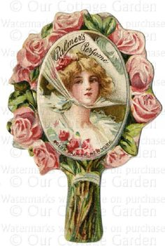 Vintage Perfume Labels | Antq PERFUME Labels * CHERUBS Roses + | Our Cottage Garden