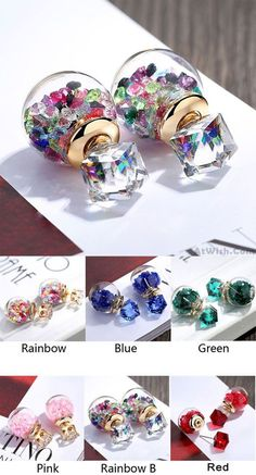 Cute Colorful Crystal Bubble Transparent Ball Earrings Studs is a very cute earring ! #earring #crystal #cute