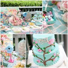 Cherry Blossom & Bird theme.  Girls 1st birthday party. I just Love the bright colors!
