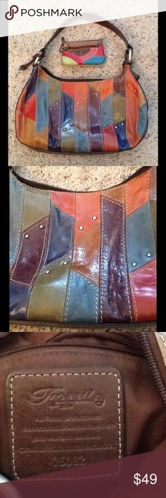 FOSSIL PATCHWORK LEATHER HOBO BAG w/ COIN PURSE FOSSIL Fossil Bags Hobos