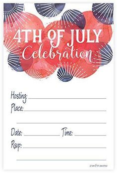 4th of July Party Invitations - Fill In Style (20 Count) With Envelopes
