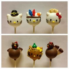 Hello Kitty Thanksgiving Cakepops vypassetti cake pops - thanksgiving hello kitty Thanksgiving Cake Pops, Christmas Cake Pops, Thanksgiving Recipes, Fall Treats, Holiday Treats, Holiday Fun, Fall Cake Pops, Cupcakes, Cupcake Cakes