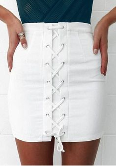 White Lace Up Irregular Drawstring Waist Sexy Cotton Skirt