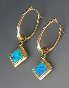 Gold Oval Hoop Earrings with Boulder Opal and Emerald Drops by Athenae Inc Opal Earrings, Silver Drop Earrings, Opal Jewelry, Turquoise Jewelry, Hoop Earrings, Stylish Jewelry, Jewelry Accessories, Jewelry Design, Women Jewelry