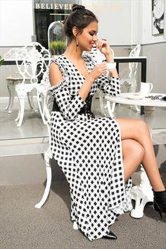 Kadın Siyah Beyaz Ekose Gömlek Elbise