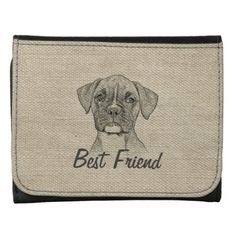 Awesome  adorable funny trendy boxer puppy dog leather wallet