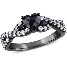 1/2 CT. T.W. Enhanced Black Diamond and Lab-Created White Sapphire... (£75) ❤ liked on Polyvore featuring jewelry, rings, sterling silver white sapphire ring, sterling silver jewellery, enhancer jewelry, black rhodium diamond ring and black diamond jewelry