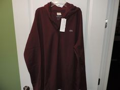 Lacoste Authentic Designer Burgundy Solid Cotton L/S Hoodie Shirt SZ 8/2XL NWT  #Lacoste #Hooded