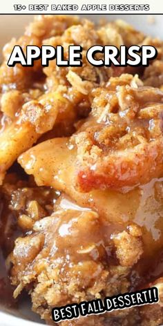 This Homemade Apple Crisp from Belle of the Kitchen is on our list of the 15 Best Baked Apple Desserts! Baked Apple Dessert, Apple Dessert Recipes, Apple Crisp Recipes, Desserts To Make, Fall Desserts, Fruit Recipes, Fall Recipes, Delicious Desserts, Desserts With Apples