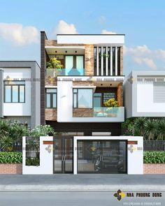 3 Storey House Design, Bungalow House Design, House Front Design, Modern House Design, Modern Bungalow Exterior, Narrow House Designs, House Architecture Styles, House Extension Design, Model House Plan