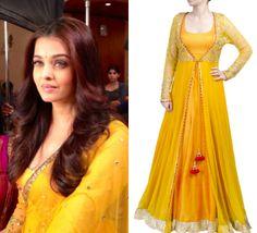 Aishwarya Rai Bachchan looks stunning in the yellow anarkali by SVA.   Shop the look at  http://www.perniaspopupshop.com/designers-1/sva/sva-yellow-anarkali-with-sheer-jacket-svabo1013kygj.html