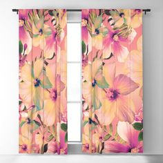 Rose Glow Tropic Blackout Curtain by ninamay | Society6