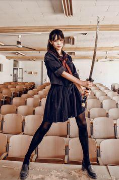 Japanese School Girl Costume japan, katana, and seifuku image - Action Pose Reference, Human Poses Reference, Pose Reference Photo, Action Poses, Body Reference, Sword Poses, Japonese Girl, Katana Girl, Fighting Poses