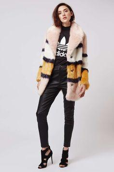 Faux Fur Colour-Block Coat