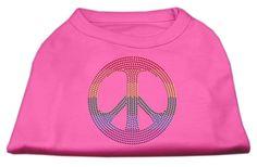 Rhinestone Rainbow Peace Sign Shirts Bright Pink XS (8)