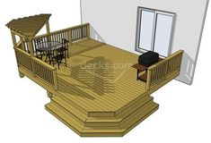 This L shaped deck runs wide across the house and deep. It features a unique x pergola, privacy wall, and a cascading staircase. This deck provides a lot of privacy. The pergola plans and details are included. Deck With Pergola, Outdoor Pergola, Pergola Plans, Pergola Kits, Pergola Ideas, Corner Pergola, Pergola Roof, Metal Pergola, Pergola Shade