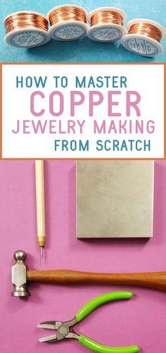 Metal Jewelry Making, Copper Jewelry, Beaded Jewelry, Diy Crafts Jewelry, Copper Wire, Jewelry Bracelets, Jewellery, Wire Jewelry Designs, Handmade Wire Jewelry