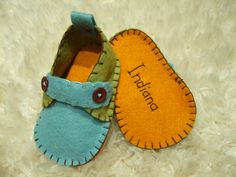 Blue and Green Loafers  Felt Baby Shoes