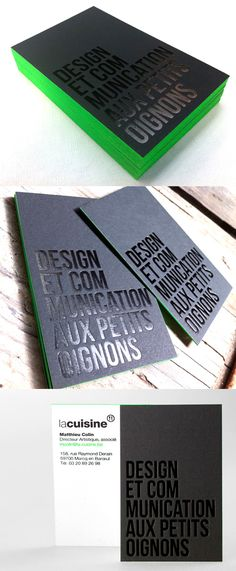 Modern Black Hot Foil Stamped Business Cards With Neon Green Edge Painting