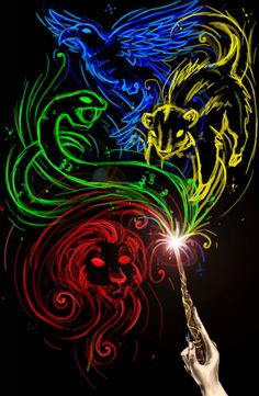 I would LOVE to have this as a painting!!!!  Hogwarts colours and house mascots
