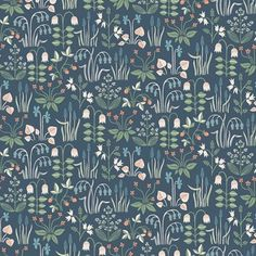 Add a whimsical flair to rooms with this darling Scandinavian wallpaper. Its lively botanical pattern, featuring red strawberries and blue violets, pops against a navy background. Strawberry Field is an unpasted, non-woven blend wallpaper. Field Wallpaper, Navy Wallpaper, Plant Wallpaper, Botanical Wallpaper, Wallpaper Samples, Geometric Wallpaper, Blue Wallpapers, Wallpaper Roll, Pattern Wallpaper