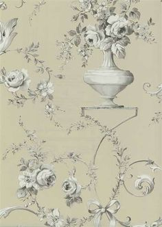 Interior Place - Taupe 522-31208 Ribbon Floral Vase Wallpaper, $39.99 (http://www.interiorplace.com/taupe-522-31208-ribbon-floral-vase-wallpaper/)