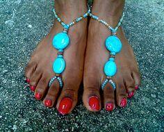 Bohemian foot sandals Yoga sandals Wedding sandals by JJBluDesigns, $18.00