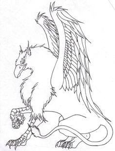 Griffon outLine by OneMoreDayToRegret on DeviantArt Pegasus Tattoo, Celtic Tattoos, Viking Tattoos, Animal Sketches, Animal Drawings, Fantasy Creatures, Mythical Creatures, Griffon Tattoo, Griffin Drawing
