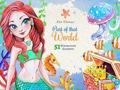 Cute Mermaid Princess Clip art Fish Clipart by KrisDreams on Etsy Fish Clipart, Mermaid Clipart, Cute Mermaid, Octopus Mermaid, Watercolor Plants, Watercolor Jellyfish, Mermaid Pictures, Birthday Scrapbook, Backgrounds