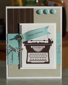 Typewriter Birthday Card using Stampin Up You're by WhimsyArtCards, $4.00