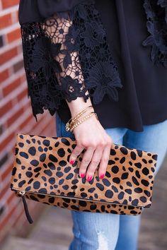 Clare V. leopard clutch // LipglossandLabels.com