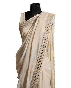 White Mirror Work Sari with Blouse & Stole