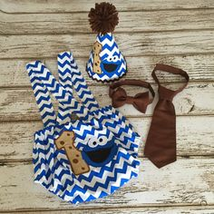 Cookie Monster First Birthday Boy Blue Chevron by Polkadotologie