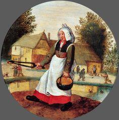 22_Питер Брейгель младший Адский (1564-1638)_Из цикла Нидерландские пословицы_У неё в одной руке огонь, в другой вода_дерево (дуб) масло