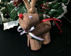 Wine Cork Reindeer Ornament van SandylandDesignsUS op Etsy