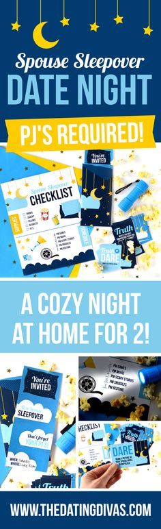 Spouse Sleepover Date Night Idea with fun activities for an easy at-home date! #athomedate #datenightidea