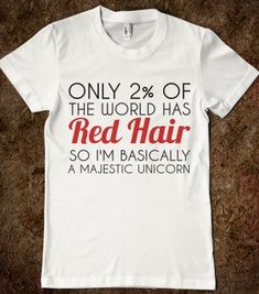 RED HAIR MAJESTIC UNICORN - glamfoxx.com - Skreened T-shirts, Organic Shirts, Hoodies, Kids Tees, Baby One-Pieces and Tote Bags