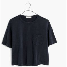 MADEWELL Garment-Dyed Pocket Tee ($40) ❤ liked on Polyvore featuring tops, t-shirts, onyx, boxy t shirt, crop t shirt, boxy crop tee, crop top and boxy top