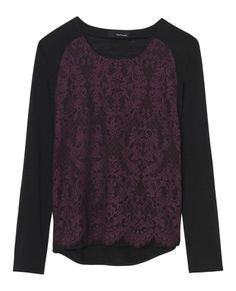 T-shirt with lace raglan panel - All clothing - Women - The Kooples
